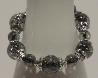 BLACK GLASS BEADS (10mm) with silver tone bead caps - Stretchy Beaded Bracelet - Fun 106