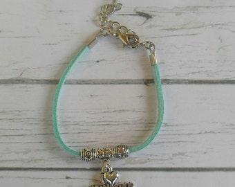 Gymnastics Bracelet// Team Colors//Gymnastics Mom// Gymnast Gift// Custom Sports Bracelet for Girls// Choose Color & Sports Charm