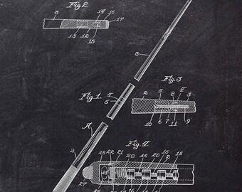 Billiard Cue Patent Art Print - Pool Cue Patent Art Print - Billiards and Pool Patent Print - Sport Related Patent Art Print