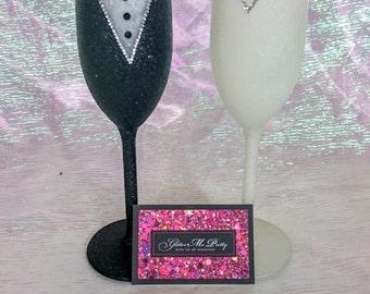 Glitter Wedding Glass Set - Hand Decorated