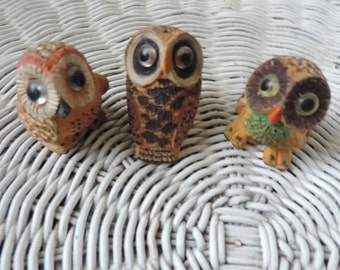 Three Woodent Owls Hand Carved and Painted Vintage