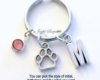 Dog Paw Print KeyChain, Doggy Keyring, Bear Paw Charm, Dog Breeder Key chain Personalized Initial Birthstone birthday present Christmas Gift
