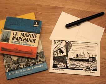 Postcard - Melbourne - Australia - Illustration vintage - Retro - shipping - travel - Cargo - boat