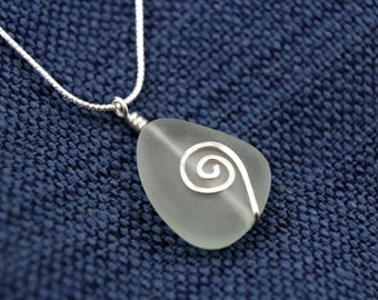 Sea Glass and Silver Spiral Necklace