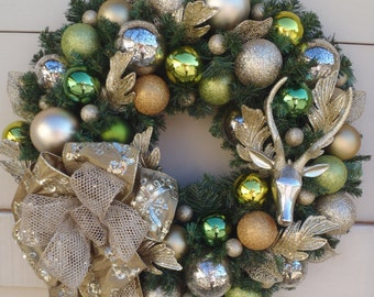 Christmas wreath, Deer wreath, Platinum wreath, Gold wreath, Metallic wreath