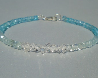 Herkimer Bracelet, Herkimer Diamond Bracelet, Aquamarine Bracelet, Apatite Bracelet, Dainty Beaded Bracelet, Skinny Beaded Bracelet