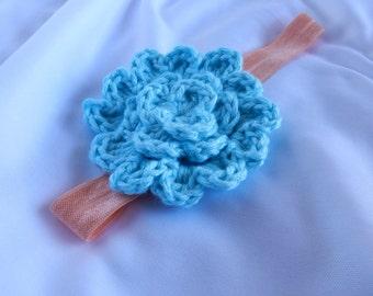 Baby Aqua Flower Headband