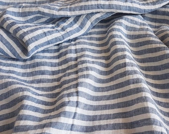 Wide striped linen fabric, blue and white stripes, stonewashed pure linen fabric, authentic soft linen, horizontally striped, for DIY