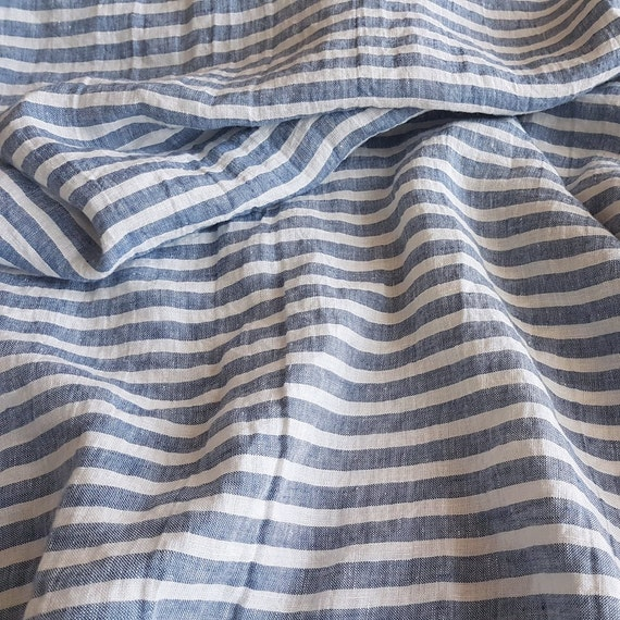 Wide striped linen fabric, blue and white stripes, stonewashed ...