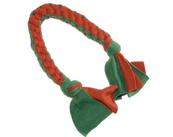Fleece Tug Toy for Dog - Forest Green and Copper | Dog Toy, Fleece Dog Toy, Made in USA Dog Toy