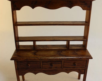 Dollhouse Miniature Handmade Real Oak Sideboard and Hutch Top Imported from Wales (1/12 Scale)