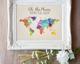 Oh the Places You Will Go Map Wall Art for Nursery, Baby Shower Birthday Party Gift, Nursery Printables, Nursery Printable Art - Watercolor