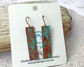 Copper Patina Bar Earrings - Turquoise colored - Maine made jewelry - One of a kind - Sea Salt - Handmade - Ocean - Dangle Drop Earrings