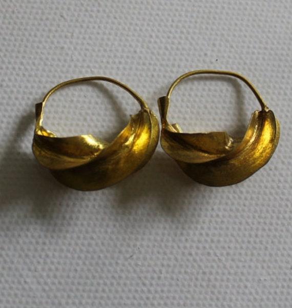 Fulani Earrings: Fulani Tribe Earrings. Handcrafted Twisted Gold Coloured