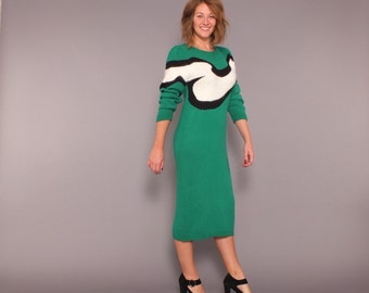 1980s Vintage Graphic Pop Art Green Sweater Dress