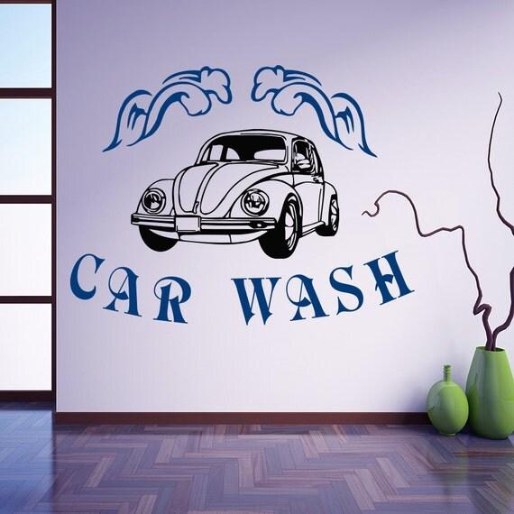 Wall Decal Vinyl Sticker Car Wash Sign Passenger Machine Retro - Vinyl decals car wash