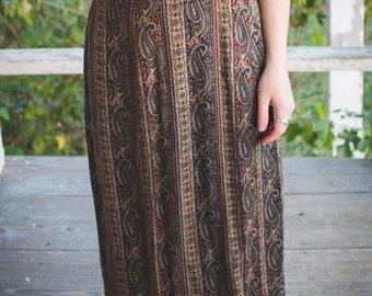 Long Vintage Neutral Paisley Skirt