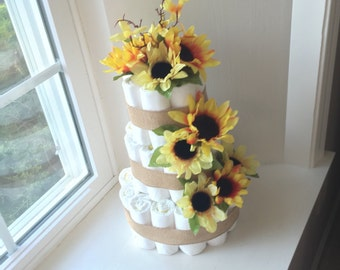 Sunflower Baby Shower Diaper Cake Centerpiece.  Diapers for the Mom-to-Be!