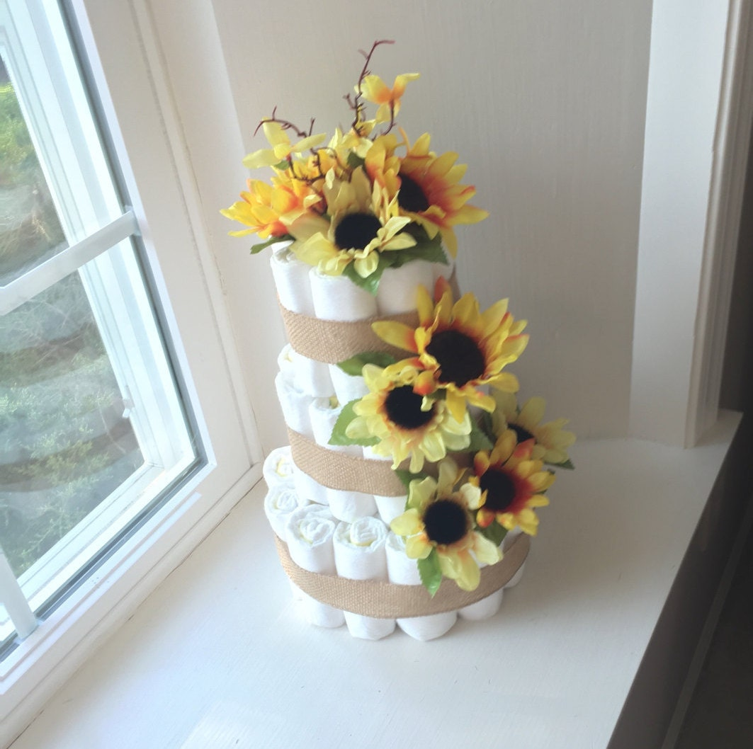 Sunflower baby shower diaper cake centerpiece diapers for
