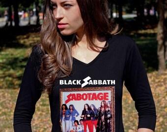 Black Sabbath Shirts Black Sabbath T Shirts Black Sabbath Tee Shirt Sabotage V Neck Tee Shirt Women 3/4 Sleeve Shirt Rock Heavy Metal