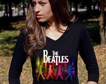 The Beatles Shirt Beatles Shirt The Beatles TShirt Abbey Road John Lennon Tee V Neck Tee Shirt Women 3/4 Sleeve Classic Rock Shirt