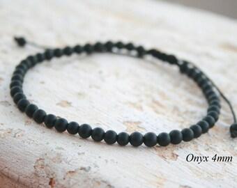 Onyx Bracelet, Men Bead Bracelet, Men Gift, Men Healing Bracelet, Men Zen Bangle, black bead bracelet, Anniversary gift, unisex, Matte bead