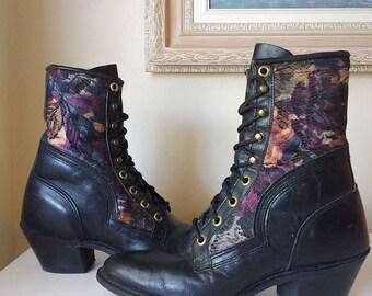 Black Vintage Capezio Tapestry Boots Size 6 1/2