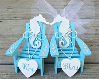 Beach Wedding Cake Topper,Mini Adirondack Chair Set,Seahorse Cake Topper,Beach Chairs Cake Topper,Nautical Wedding,Bridal Shower,Beach Theme
