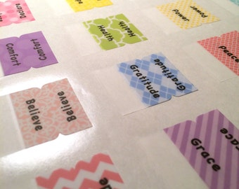 "KEY WORD Pastel Multicolored ""Words of Affirmation"" Bible Tabs by Victoria Anderson"