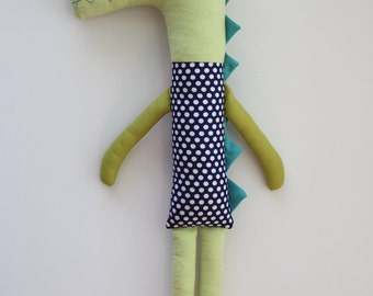 Mav the Alligator. Stuffed animal toy. Gift for child. Baby toy.  Stuffed alligator. Modern nursery decor.
