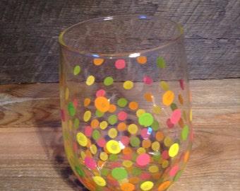 Polka Dot Stemless Wine Glass