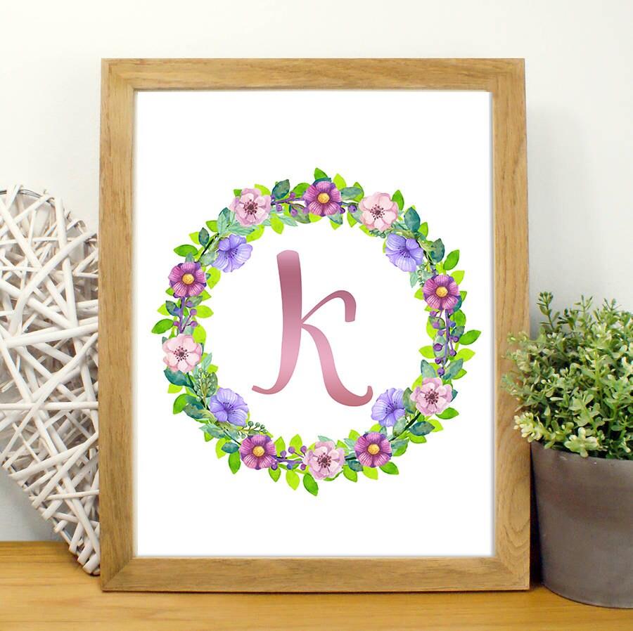 Shop Floral Monograms At Littlebrownnest Etsy Com: Monogram Letter K Floral Monogram Print By TemperaArtDesign