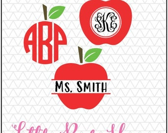 Apple Design Monogram SVG DXF Digital Cut File Bundle