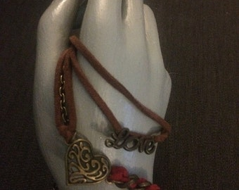 Red and Brass Heart Bracelet