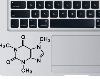 Caffeine Molecule Decal For Apple Macbook Laptop Chemical Molecule Vinyl Sticker For Car Truck Wall Window