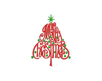 MERRY CHRISTMAS - machine embroidery design - Instant Download