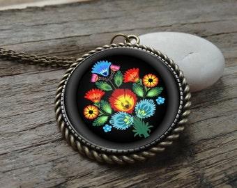 Polish folk pendant, Polish folk jewelry, Black folk pendant, folk flowers