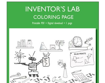 Inventor's Workshop Coloring Page for Adults or Kids | Coloring Page PDF Download | Adults coloring | Coloring page | PDF Printable | Robot