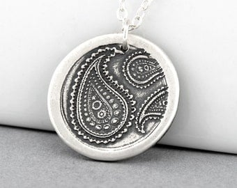 Silver Paisley Pendant Necklace Fine Silver Sterling Silver Charm Necklace Hippie Jewelry Paisley Charm