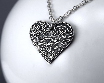 Silver Heart Necklace - Silver Heart Pendant - Lotus Flower Pendant - Sterling Silver Heart Jewelry - Heart Charm - Gift For Her