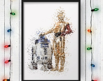 STAR WARS POSTER, The Force Awakens, C3PO, R2D2, C3PO Red Arm, C3PO And R2D2, Star Wars, Movie Poster, Art, Print, Digital Print
