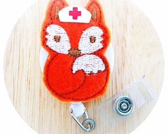 Feltie Badge Reel - Fox Nurse -  Badge Holder - Retractable Badge Reel - ID Badge Clip - Nurse - RN Badge -  Badge - Mysweetbadge
