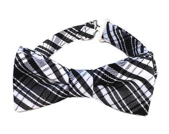 Black plaid bow tie, black bow tie boys, little boy bow tie, bow ties, toddler bow tie, kids bow ties, black bow ties men, black and white