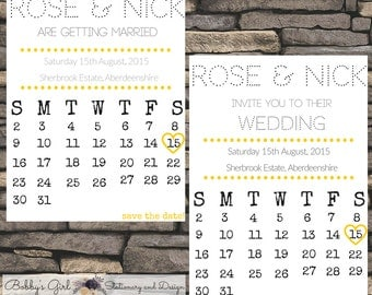 Printable Calender Save the Date and Invite Suite - Retro, Modern Wedding Stationary - Choose your colour