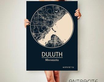 DULUTH Minnesota CANVAS Map Duluth Minnesota Poster City Map Duluth Minnesota Art Print Duluth Minnesota poster Duluth Minnesota ArchTravel