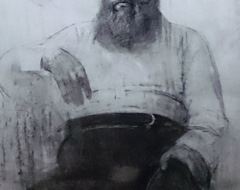 Bearded man, (32.6x24.4 inches)
