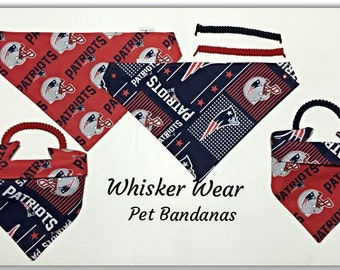New England football fabric~ custom dog bandanas~reversible pet bandana~All sizes XS-XL breeds~no tie~ no collar~easy dressing~pet scarf~