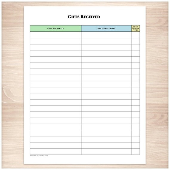 Wedding Gift List Tracker : Printable Gifts Received List - Holiday Occasion Birthday Wedding ...