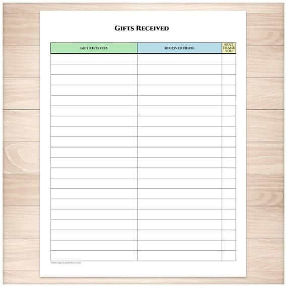 Wedding Gift List Holiday : Printable Gifts Received List - Holiday Occasion Birthday Wedding ...