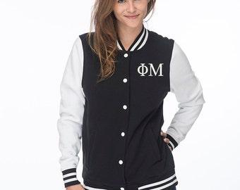 Phi Mu Sweatshirt Letterman Jacket, Phi Mu Jacket,Phi Mu Sorority Letters Jacket, Phi Mu, Greek Apparel, PhiMu Sweatshirt